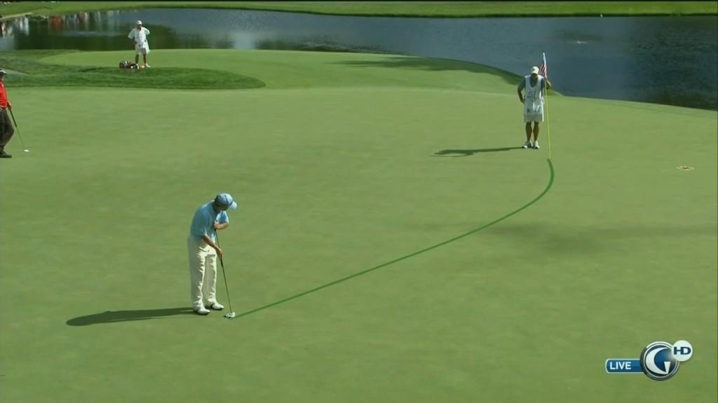 golf putting break towards water
